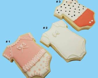 One Dozen (12) Custom Design Decorated Onesie Cookies - Baby shower, Baby birthday, Special occasion