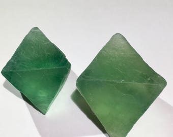 2pc Top Quality 96g XL Natural Fluorite Octahedron Crystal Set - China - Item:F17068