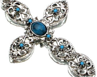 Cross Turquoise Vintage Necklace Bold Statement Modernist Mid Century Ornate Spiritual 1960s That 70s Show Christian Crucifix Jesus Catholic