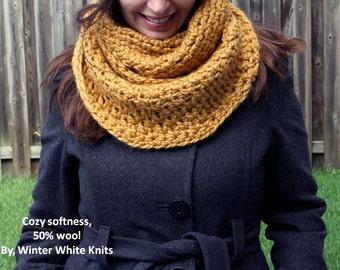 Infinity Scarf, Chunky Knit Scarf, Knitted Scarves, mustard yellow scarf, circle scarf cowl