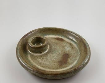 Vetiver Green Plate for Sage, Incense, or Crystals. Handmade ceramics. Wheel thrown pottery. With love in Baltimore.
