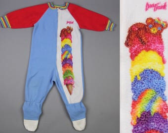 80s Vintage Lisa Frank Baby One Piece Footie Pajamas Size 2T