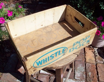 Vintage Cardboard Whistle Pop Dock Soda Crate.