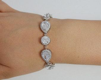 Bridal Cubic Zirconia Crystal Bracelet, Wedding Jewelry, Teardrop, Drop Earrings, Necklace, Silver - Will Ship in 1-3 Business Days