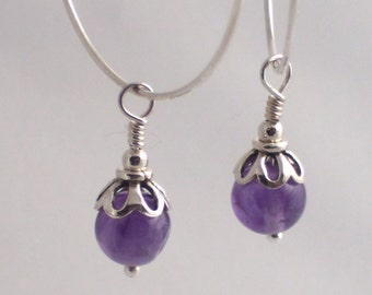 Amethyst Drops on Hoops