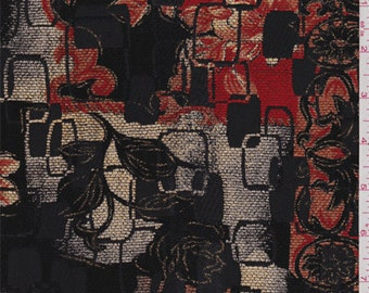 Red/Black Multi Contemporary Chenille Jacquard, Fabric By The Yard