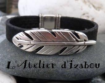 Bracelet femme cuir noir reptile et passant plume