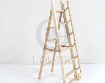 1:12 Scale Doll House Miniature library ladder  [Unfinished]