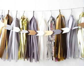 Tassel Garland - Golds and Grays - Wedding decor - Bridal Shower - Nursery
