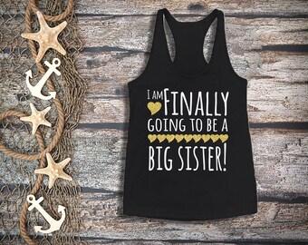 Finally big sister tank top;girl's black tank top;pregnancy announcement;big sister gold glitter;sibling shirt;big sister shirt;