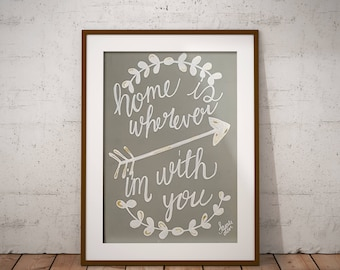 Home Is: Acrylic Painting PRINT,  hand lettered quote, positive message, love family, arrow, gray, white gold
