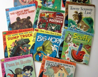 11 Vintage Little Golden Books and Record Sets ~ Complete!