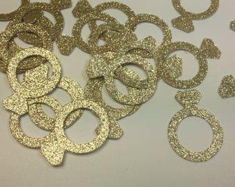 Gold Glitter Engagement Ring Confetti, Engagement Party Decor, Bachelorette Party Decor, Bachelorette Decorations, Bridal Shower Decor