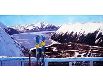 Alaska Skiing Painting, Downhill Skis Art Print, Gift for Skier, Girdwood, Mt. Alyeska, Gift for Alaskan, Skiing Painting, Skis Painting