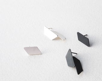 Mismatched Silver Earrings, Geometric Stud Earrings, Mismatched Geometric Earrings, Minimalist Stud Earrings, Statement Earrings