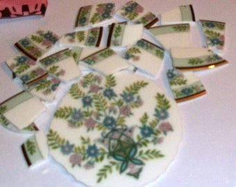 Mosaic focal, Mosaic Supplies, hand cut china, Floral china,