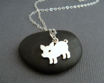 small silver pig necklace. piglet. sterling silver animal pendant spirit totem. simple delicate everyday jewelry prosperity good luck charm