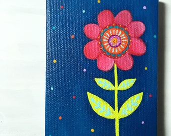 Tiny painting - Funky Flower - Acrylic on 3 x 4 Canvas