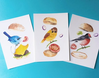 Birds and burgers. Watercolor postcard set of three.