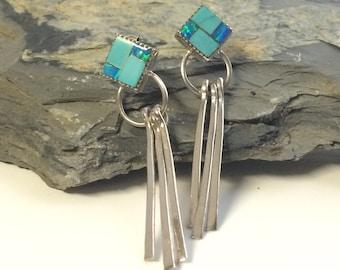 Dangle Earrings Gift For Wife Jewelry Gift Girlfriend Sister Gift Long Silver Earring Turquoise Earring Inlaid Handmade Jewelry For Wife