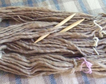 Hand Spun Natural Sandy Beige Polwarth Singles Wool Yarn, 3.5 ozs (100 gms), MEGA Bulky Weight, 25.5 microns, un-dyed