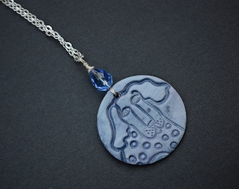 Dog Polymer Clay Necklace, Silver Plated Wire Wrapped Necklace, Polymer Clay Necklace, Animal Necklace, Blue, Round