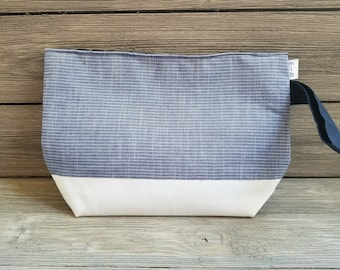 Large blue fabric project bag