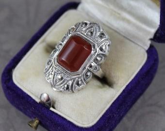 Vintage 1920s to 1930s Art Deco Orange Carnelian Sterling Silver Marcasite Ring