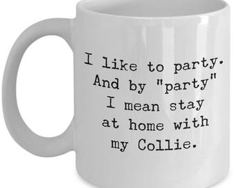 Collie Mug – Stay at Home with My Collie – Funny Border Collie Dog Lover Coffee Cup Gift, 11 oz.