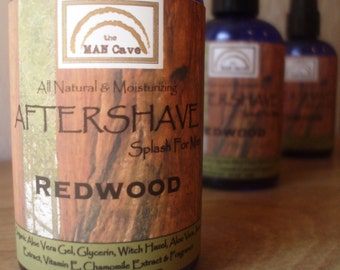 AFTERSHAVE- REDWOOD - All Natural Face Conditioner For Kissable Skin with Aloe, Green Tea and Chamomile by Man Cave Soapworks