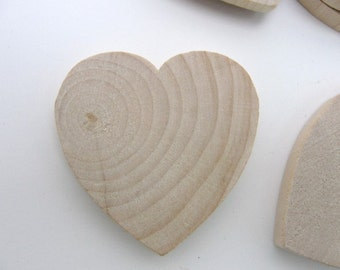 """25 Wooden hearts 1 3/4 inch (1.75"""") wide 1/4 inch thick unfinished wood hearts diy"""