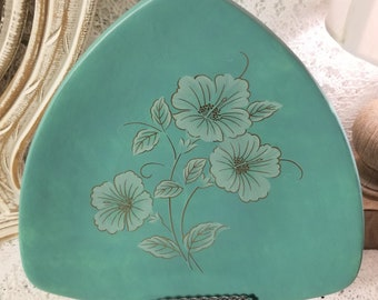 Turquoise ceramic floral triangle plate