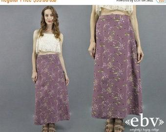 Floral jupe Maxi des années 90 jupe florale des années 1990 jupe 90 s jupe jupe mauve lavande jupe chemise d'été jupe Midi Floral jupe Grunge doux M
