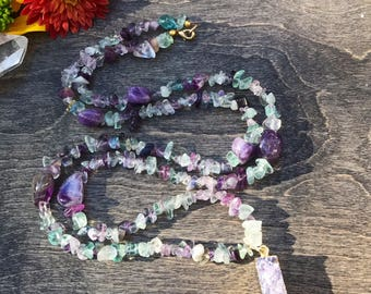 Fluorite, amethyst and druzy bar beaded necklace, gemstone chip necklace, energy healing necklace, purple necklace, crystal necklace