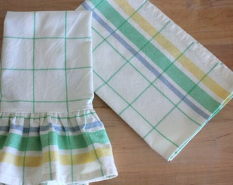 Pastel Plaid Tea Towel - Select from Ruffled or Unruffled