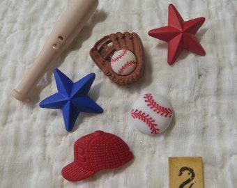 Set of 6 Baseball Craft Buttons