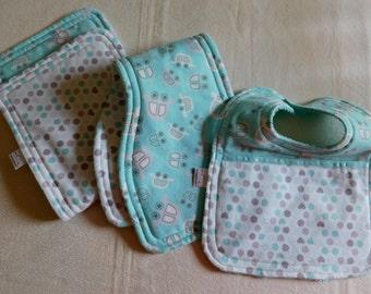 Baby Layette set 2 burpcloths/bib; baby gift set; baby shower gift