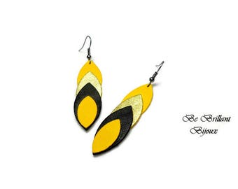 Leather leaves earrings, mustard yellow, black, gold