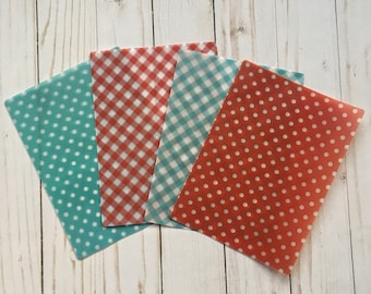 Teal and Red Patterned Vellum TN Planner Inserts
