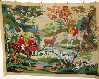 Fabulous Large Completed Vintage French Needlepoint Tapestry 'The Hunt' (5225s)