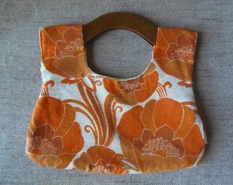 French Vintage Orange Flower Power Material Bag