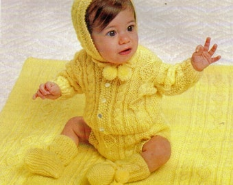 Newborn Knitting Pattern, Aran Knitting Pattern with Baby Sweater, Diaper Cover, Hat, Booties, Blanket, INSTANT Download Pattern PDF (2324)