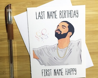 Last Name Birthday First Name Happy Birthday Card, Funny Birthday Card, Happy Birthday, Rap Music, Friend Birthday, Hip Hop Gift, Rap Music,