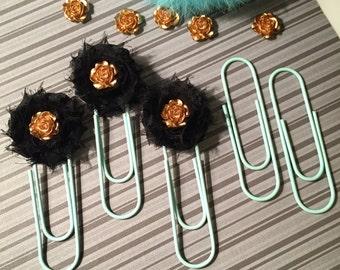Oversize JUMBO Paperclips- Classic Blue Chiffon Flower/Metallic Gold Rose