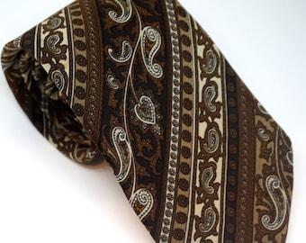 Vintage Brown Silk Paisley Tie, Designer Ted Lapidus Paris Necktie,  Boho Unisex Accessories