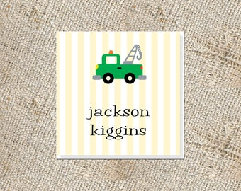 Children's Personalized Gift Cards -  25 cards; Gift Enclosures for Kids; Tow Truck Gift Tags; Gift Cards for Boys