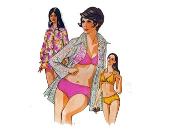 "Bikini Sewing Pattern with Cover Up Patch Pockets Front Button Closing UNCUT Size 12 14 16 Bust 37-40"" (94 102 cm) Kwik Sew 480 S"