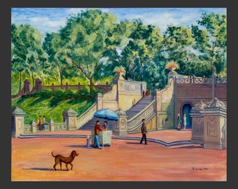 Central Park: Bethesda Terrace with Dog by Ronnie Levine