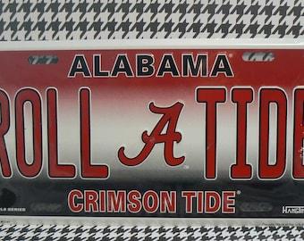 Alabama Bama Football License Plate Car Truck Tag Crimson Roll Tide