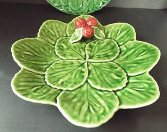 Bordallo Pinheiro green leaf  majolica plates raised cherries